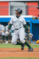 Tim Beckham (6) of the Princeton Rays follows through on his swing at Burlington Athletic Park in Burlington, NC, Wednesday, August 13, 2008. (Photo by Brian Westerholt / Four Seam Images)