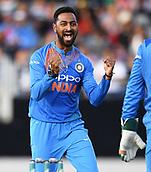 8th February 2019, Eden Park, Auckland, New Zealand;  Krunal Pandya celebrates the wicket of Mitchell. New Zealand v India in the Twenty20 International cricket, 2nd T20.