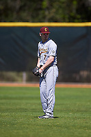 Central Michigan Chippewas Colton Bradley (7) during practice before a game against the Boston College Eagles on March 3, 2017 at North Charlotte Regional Park in Port Charlotte, Florida.  Boston College defeated Central Michigan 5-4.  (Mike Janes/Four Seam Images)