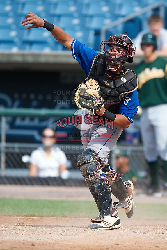Matthew Morgan #37 of Thorsby High School in Thorsby, Alabama playing for the Kansas City Royals scout team during the East Coast Pro Showcase at Alliance Bank Stadium on August 3, 2012 in Syracuse, New York.  (Mike Janes/Four Seam Images)