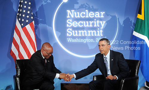 United States President Barack Obama shakes hands with President Jacob Zuma of South Africa as he holds bilateral meeting at the Blair House during the Nuclear Security Summit, Sunday, April 11, 2010 in Washington, DC. .Credit: Olivier Douliery / Pool via CNP