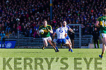 Kerry Mark Griffin side steps Neil McAdam Monaghan  during their NFL clash in Fitzgerald Stadium on Sunday