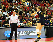 The University of Michigan volleyball team advanced to the sweet 16 by beating No. 9 Louisville, 3-1, in the 2012 NCAA Tournament at the KFC Yum! Center in Louisville, Ky., on November 30, 2012.