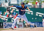 31 May 2018: New Hampshire Fisher Cats pitcher Danny Young on the mound against the Portland Sea Dogs at Northeast Delta Dental Stadium in Manchester, NH. The Sea Dogs defeated the Fisher Cats 12-9 in extra innings. Mandatory Credit: Ed Wolfstein Photo *** RAW (NEF) Image File Available ***