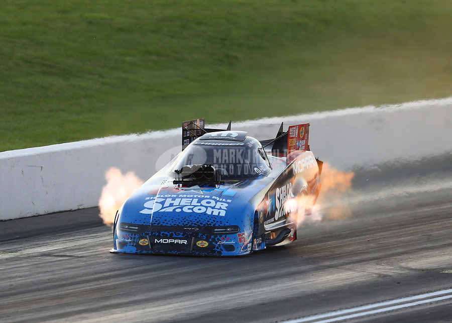 Jun 7, 2019; Topeka, KS, USA; NHRA funny car driver Matt Hagan during qualifying for the Heartland Nationals at Heartland Motorsports Park. Mandatory Credit: Mark J. Rebilas-USA TODAY Sports