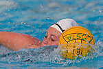 Manhattan Beach, CA 02/16/11 - Haley Kunert (C)  (Edison #5) in action during the 2011 first round CIF girls waterpolo playoffs between Edison and Mira Costa.