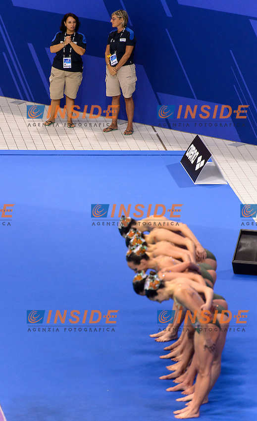 ITALY ITA <br /> BOZZO Elisa CALLEGARI Beatrice CATTANEO Camilla CERRUTI Linda DEIDDA Francesca FLAMINI Manila PERRUPATO Mariangela SGARZI Sara <br /> Roberta FARINELLI, Patrizia GIALLOMBARDO <br /> Team Free Preliminary  <br /> London, Queen Elizabeth II Olympic Park Pool <br /> LEN 2016 European Aquatics Elite Championships <br /> Synchronized Swimming <br /> Day 03 10-05-2016<br /> Photo Andrea Staccioli/Deepbluemedia/Insidefoto