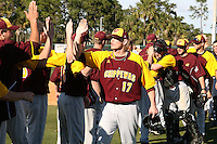 March 7, 2010:  Bryce Morrow (17) of the Central Michigan Chippewas in the line of congratulations after a game at Jay Bergman Field in Orlando, FL.  Central Michigan defeated Central Florida by the score of 7-4.  Photo By Mike Janes/Four Seam Images
