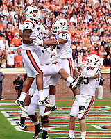 CHARLOTTESVILLE, VA- NOVEMBER 12: Wide receiver Marcus Davis #7 of the Virginia Tech Hokies and safety Theron Norman #21 of the Virginia Tech Hokies celebrate during the game against the Virginia Cavaliers on November 28, 2011 at Scott Stadium in Charlottesville, Virginia. Virginia Tech defeated Virginia 38-0. (Photo by Andrew Shurtleff/Getty Images) *** Local Caption *** Marcus Davis;Theron Norman