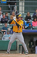 Wichita State Shockers infielder Tanner Kirk #2 at bat during a game against the Coastal Carolina Chanticleers at Ticketreturn.com Field at Pelicans Ballpark on February 23, 2014 in Myrtle Beach, South Carolina. Wichita State defeated Coastal Carolina by the score of 5-2. (Robert Gurganus/Four Seam Images)