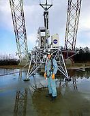 Hampton, VA - (FILE) -- Astronaut Neil Armstrong, Commander, Apollo 11, poses for a photo at Langley Lunar Landing Research Facility in Hampton, Virginia on Wednesday, February 12, 1969..Credit: NASA via CNP