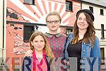 Grace Holiday, Ciara Holiday and Caoilainn O'Sullivan Killorglin  looking at the mural The Future is Bright mural at the Kfest in Killorglin on Sunday