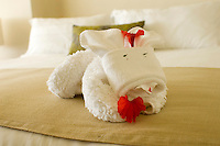 Towel arrangement of the Presidente Intercontinental Hotel, Cozumel, Mexico.