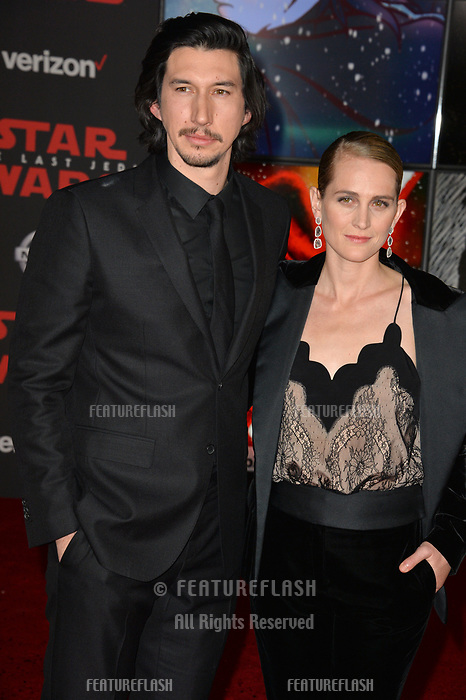 Adam Driver &amp; Joanne Tucker at the world premiere for &quot;Star Wars: The Last Jedi&quot; at the Shrine Auditorium. Los Angeles, USA 09 December  2017<br /> Picture: Paul Smith/Featureflash/SilverHub 0208 004 5359 sales@silverhubmedia.com