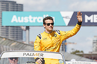 March 20, 2016: Jolyon Palmer (GBR) #30 from the Renault Sport F1 team at the drivers' parade prior to the 2016 Australian Formula One Grand Prix at Albert Park, Melbourne, Australia. Photo Sydney Low