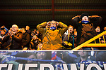 Stockport fans inThe Cheadle End react to missed chance. Stockport County v Barnet, 07032020. Edgeley Park, National League. Photo by Paul Thompson.