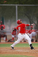 Kevin Franklin #52 of the AZL Reds bats against the AZL Padres at the Cincinnati Reds Spring Training Complex on July 13, 2013 in Goodyear, Arizona. AZL Reds defeated the AZL Padres, 11-10. (Larry Goren/Four Seam Images)