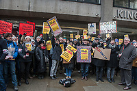Staff and students on the pictet line at King's College London during a strike by UCU members over changes to pensions. 26-2-18