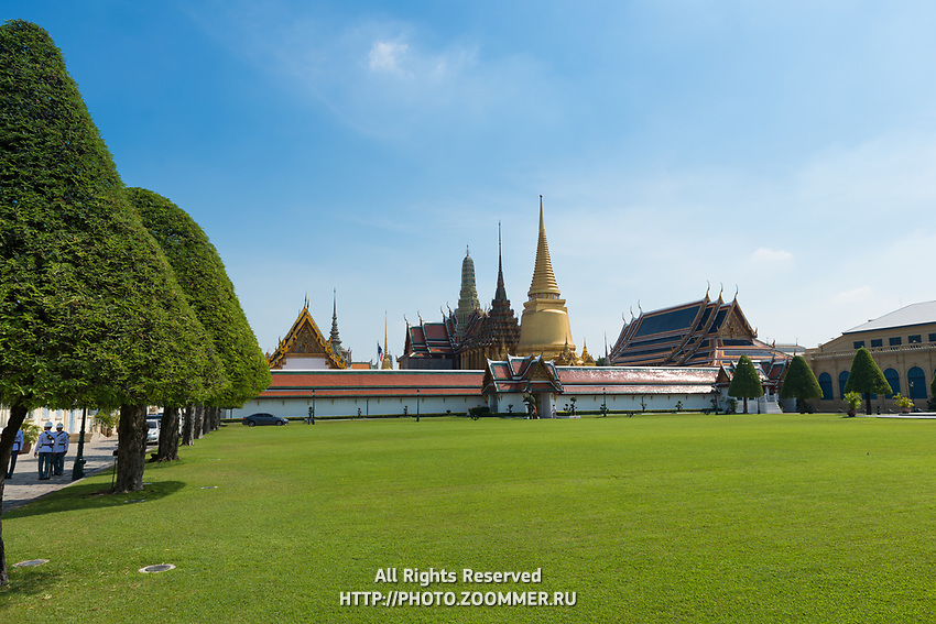 The big lawn near the Temple of the Emerald Buddha in the Grand Palace, Bangkok, Thailand