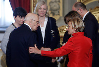 Il Presidente della Repubblica Giorgio Napolitano parla al Ministro degli Esteri Emma Bonino, a destra, alla cerimonia del giuramento del nuovo governo al Quirinale, Roma, 28 aprile 2013..Italy's Head of State Giorgio Napolitano talks to Foreign Minister Emma Bonino, right, during the swearing in ceremony of the new government at the Quirinale presidential palace Rome, 28 April 2013..UPDATE IMAGES PRESS/Isabella Bonotto