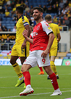 Fleetwood Town's Ched Evans is all smiles<br /> <br /> Photographer David Shipman/CameraSport<br /> <br /> The EFL Sky Bet League One - Oxford United v Fleetwood Town - Saturday August 11th 2018 - Kassam Stadium - Oxford<br /> <br /> World Copyright &copy; 2018 CameraSport. All rights reserved. 43 Linden Ave. Countesthorpe. Leicester. England. LE8 5PG - Tel: +44 (0) 116 277 4147 - admin@camerasport.com - www.camerasport.com