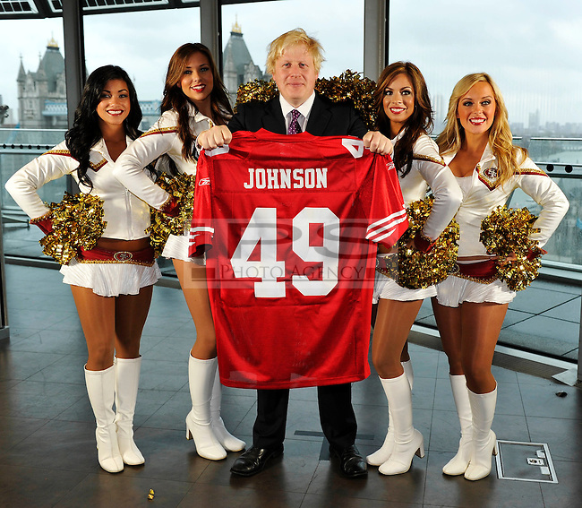 San Francisco 49ers Goldrush Cheerleaders meet the Mayor of London, Boris Johnson at City Hall. To promote the game between the Denver Broncos and the San Francisco 49ers to be played at Wembley Stadium on 31/10/10.26/10/10,.photo: Sean Ryan /NFLuk.mobile: 07971 400 939.Address: 11 Botley Road, Park Gate, Southampton.Hants S031 1AH UK. tel +44 (0)1489 579109..