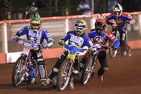 Heat 8: Magnus Zetterstrom (green), Daniel Davidsson (yellow), Leigh Lanham (red) and Andreas Jonsson (b&w) off 15 metres - Lakeside Hammers vs Poole Pirates, Elite League Grand Final 1st leg at The Arena Essex Raceway, Lakeside - 08/08/08 - MANDATORY CREDIT: Rob Newell/TGSPHOTO