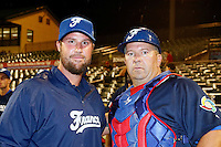 21 September 2012: Pitching coach Eric Gagne and Ray Fagnant pose prior to France vs South Africa tie game 2-2, rain delayed at the end of the 9th inning at 1 AM, during the 2012 World Baseball Classic Qualifier round, in Jupiter, Florida, USA. Game to resume 22 September 2012 at noon.