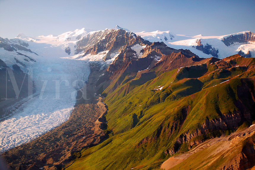 The green hills of Donoho Peak contrast with the Gates Glacier, Wrangell Saint Elias National Park and Preserve, Alaska