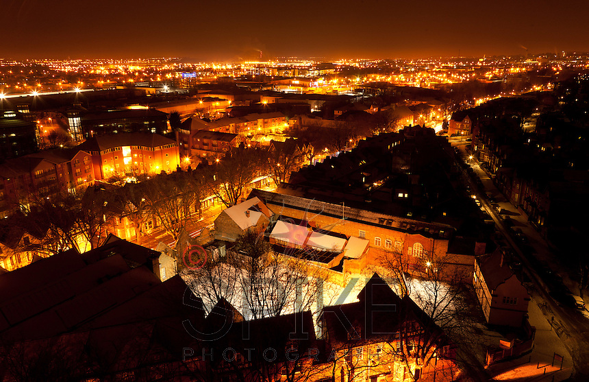 Nottingham Skyline at Night in Winter taken from Castle Rock, Nottingham Castle