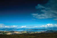 Greenock, the Firth of Clyde and the Southern Highlands from above The Wee Cut, Clyde Murshiel Country Park, Inverclyde