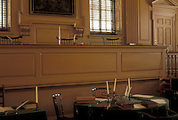 AJ3526, Philadelphia, Independence Hall, Pennsylvania, Interior of the Supreme Court Chamber in Independence Hall at Independence National Historical Park in Philadelphia in the state of Pennsylvania.