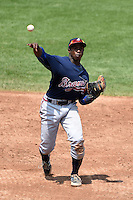 Alonzo Jones Jr. of Columbus High School in Columbus, Georgia playing for the Atlanta Braves scout team during the East Coast Pro Showcase on August 2, 2014 at NBT Bank Stadium in Syracuse, New York.  (Mike Janes/Four Seam Images)