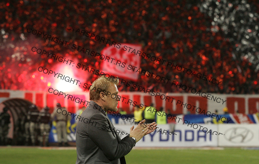 BELGRADE, SERBIA - MARCH 21: Croatia's head coach Robert Prosinecki of FC Red Star reacts before the Serbia's national first leg Cup Semi final soccer match Red Star against Partizan on March 21, 2012 in Belgrade, Serbia. Red Star won 2-0. (Photo by Srdjan Stevanovic/Getty Images)