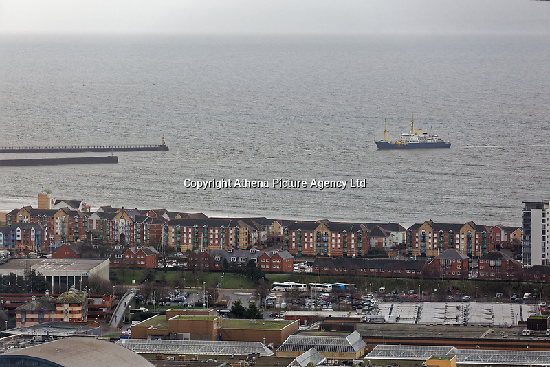 Patricia ship enters the port in Swansea, south Wales, UK. Monday 17 December 2018