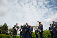 House Minority Whip Rep. Steve Scalise (R-LA, center) offers remarks as he is joined by House Minority Leader Rep. Kevin McCarthy (R-Calif., left), House GOP Conference Chairwoman Liz Cheney (R-WY) and others, to announce that Republican leaders have filed a lawsuit against House Speaker Nancy Pelosi and congressional officials in an effort to block the House of Representatives from using a proxy voting system to allow for remote voting during the coronavirus pandemic, outside of the U.S. Capitol in Washington, DC., Wednesday, May 27, 2020. Credit: Rod Lamkey / CNP/AdMedia