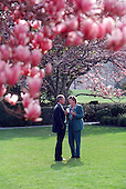 United States President George W. Bush talks with Karen Hughes, Counselor to the President, in the Rose Garden of the White House in Washington, D.C. on Wednesday, April 4, 2001..Mandatory Credit: Eric Draper - White House via CNP