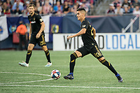FOXBOROUGH, MA - AUGUST 3: Eduard Atuesta #20 of Los Angeles FC advances the ball down the field during a game between Los Angeles FC and New England Revolution at Gillette Stadium on August 3, 2019 in Foxborough, Massachusetts.