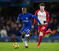 Chelsea's Ngolo Kante in action <br /> <br /> Photographer Craig Mercer/CameraSport<br /> <br /> The Premier League - Chelsea v West Bromwich Albion - Monday 12th February 2018 - Stamford Bridge - London<br /> <br /> World Copyright &copy; 2018 CameraSport. All rights reserved. 43 Linden Ave. Countesthorpe. Leicester. England. LE8 5PG - Tel: +44 (0) 116 277 4147 - admin@camerasport.com - www.camerasport.com