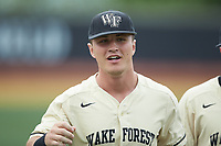 Chris Lanzilli (24) of the Wake Forest Demon Deacons during the game against the Miami Hurricanes at David F. Couch Ballpark on May 11, 2019 in  Winston-Salem, North Carolina. The Hurricanes defeated the Demon Deacons 8-4. (Brian Westerholt/Four Seam Images)