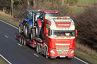 Low-loader lorry carrying tractors traveling on the A1<br /> &copy;Tim Scrivener Photographer 07850 303986<br />      ....Covering Agriculture In The UK....