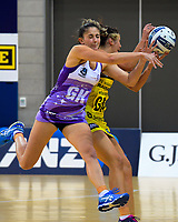 Kate Burley (left) and Ameliaranne Ekenasio compete for the ball during the ANZ Premiership netball match between the Central Pulse and Northern Stars at Te Rauparaha Arena in Wellington, New Zealand on Wednesday, 3 April 2019. Photo: Dave Lintott / lintottphoto.co.nz