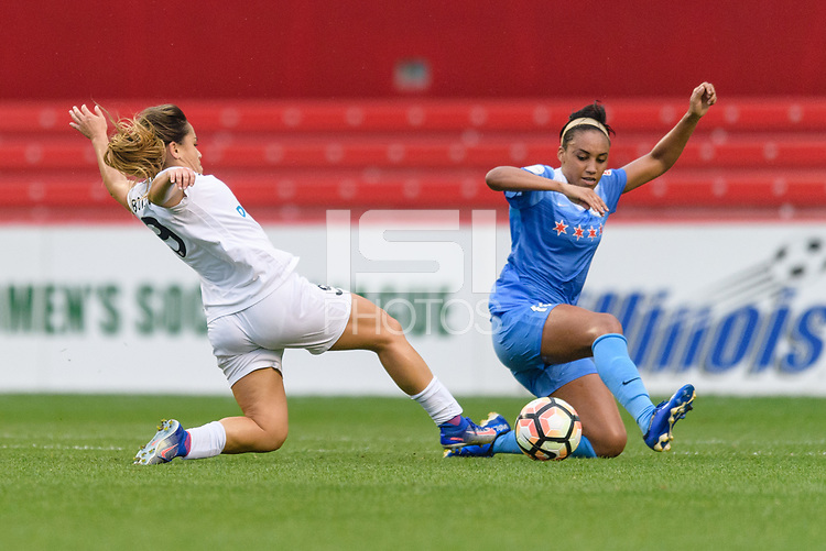 Bridgeview, IL - Sunday August 20, 2017: Lo'eau Labonta, Samantha Johnson during a regular season National Women's Soccer League (NWSL) match between the Chicago Red Stars and FC Kansas City at Toyota Park.