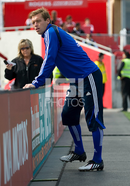 26 April 2009: Kansas City Wizards defender Jimmy Conrad #12 warms up during an MLS game at BMO Field between Kansas City Wizards and Toronto FC..Toronto FC won 1-0. .