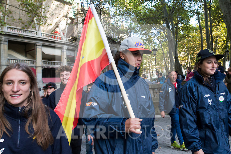 Spain's Laia Sanz of Spain enduro team during the presentation of the FIM international six days of enduro 2016 in Pamplona, Spain. October 09, 2016. (ALTERPHOTOS/Rodrigo Jimenez)