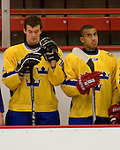 Jonathan Johansson (Sweden - 20), Jeremy Boyce Rotevall (Sweden - 11) - Sweden's Under-20 team defeated the Harvard University Crimson 2-1 on Monday, November 1, 2010, at Bright Hockey Center in Cambridge, Massachusetts.