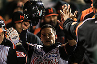 Jorge Flores celebra carrera de Naranjeros, durante el tercer juego de la Serie entre Tomateros de Culiacán vs Naranjeros de Hermosillo en el Estadio Sonora. Segunda vuelta de la Liga Mexicana del Pacifico (LMP) **26Dici2015.<br /> **CreditoFoto:LuisGutierrez<br /> **<br /> Shares during the third game of the series between Culiacan Tomateros vs Orange sellers of Hermosillo in Sonora Stadium. Second round of the Mexican Pacific League (PML)