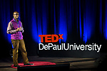 "Brian Thompson presents his talk ""Connecting Young Minorities to their Future Selves"" at TEDxDePaulUniversity Tuesday, April 18, 2017, in the Lincoln Park Student Center. TEDxDePaulUniversity is an independently run, self-organized event. Through the theme ""Courage to Connect"" 10 speakers from across the DePaul community challenged thoughts and inspired ideas through a series of engaging talks and presentations. (DePaul University/Jeff Carrion)"