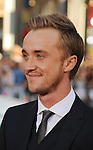 "HOLLYWOOD, CA - JULY 28: Tom Felton arrives at the ""Rise Of The Planet Of The Apes"" Los Angeles Premiere at Grauman's Chinese on July 28, 2011 in Hollywood, California."