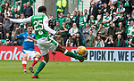 13.05.2018 Hibs v Rangers Jason Holt's shot hits the toe of Efe Ambrose to put Rangers ahead